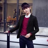 施衣品 男装 秋冬装新款时尚羊毛呢休闲西服 流行韩版修身小西装外套潮