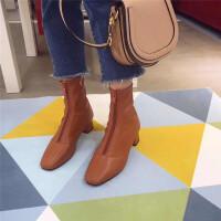 韩版前拉链短靴女粗跟中跟及踝靴新款方头复古马丁靴百搭