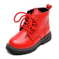 女童靴子冬秋单靴2018新款英伦风公主女孩儿童短靴宝宝真皮马丁靴 26 内长16.2