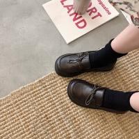 小皮鞋女冬2018新款加绒单鞋韩版百搭ins复古中跟软妹黑色学生鞋