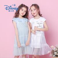 【3件2折后:74.9元】迪士尼冰雪奇缘童装女童夏装2020春夏新品网纱双层连衣裙