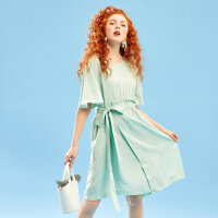 【1件2折到手价:54】美特斯邦威连衣裙夏季柔软舒适束腰抽褶天丝连衣裙文艺个性连衣裙