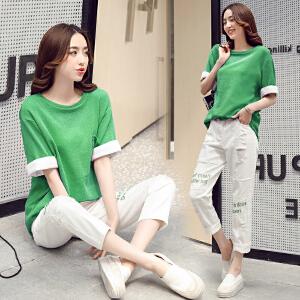 2018春韩版纯色百搭假两件宽松水洗棉7分袖T恤女潮圆领套头打底衫