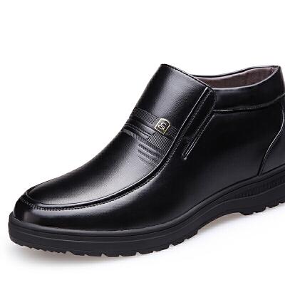 2018冬季新款男士棉靴中老年套筒防滑加绒高帮棉鞋爸爸鞋防寒皮靴