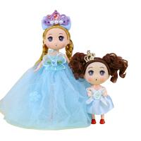 迷你迷糊娃娃小公主芭芘玩具钥匙扣书包挂件婚纱女孩 18厘米加12厘米