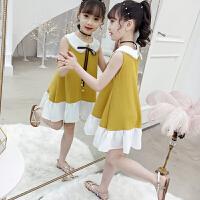 女童连衣裙夏装2019新款童装女中大童娃娃领雪纺儿童裙子