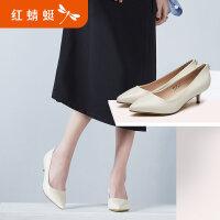 【红蜻蜓618开门红、领�患�100】红蜻蜓真皮女鞋春季新款时尚优雅职场细跟高跟单鞋牛筋底