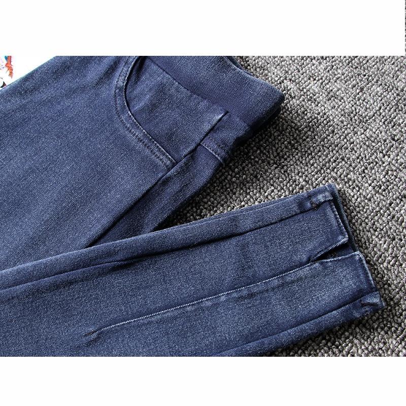 韩版大码学生高腰紧身弹力开叉牛仔小脚裤外穿大码修身打底裤  XL 1-5斤 发货周期:一般在付款后2-90天左右发货,具体发货时间请以与客服协商的时间为准