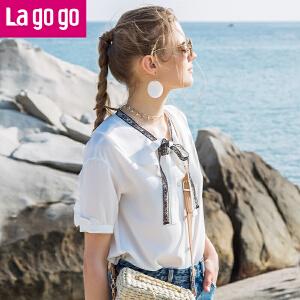 【秒杀价89.7】Lagogo/拉谷谷2019夏季新款白衬衫女雪纺衬衫HACC235A23