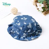 迪士尼Disney婴儿帽子淑女风纯棉牛仔花边帽儿童蝴蝶结遮阳防晒帽181P785