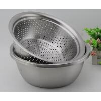 304不锈钢沙拉盆和面盆洗菜盆水果篮子沥滤水过冷河篮子漏盆筲基
