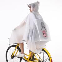 自行车雨衣单人男女学生单车骑车透明韩版骑行雨披防水反光Cn 乳白色 白色小女孩背包 XL