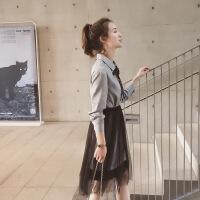 格子连衣裙中长款2018新款女装春装网纱半身裙两件套裙子潮 图片色