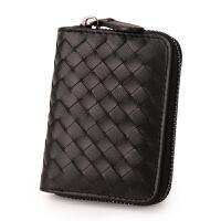 卡包女式编织拉链简约可爱薄款多卡位风琴卡包卡片包s6 羊皮风琴卡包-黑色(枪色拉链)