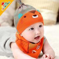 儿童韩国婴儿帽子男女宝宝帽子春秋冬季套头三角巾套0-3-6-12个月