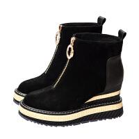 欧洲站2018新款短靴真皮复古坡跟女鞋前拉链厚底羊�S秋冬马丁靴子 黑色