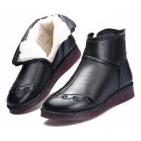 冬季新款真皮妈妈棉鞋舒适软底女靴保暖加绒短靴加厚羊毛靴奶奶鞋真皮 黑色 5872送鞋垫棉袜