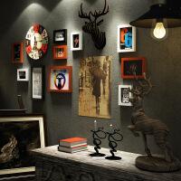 欧式照片墙 创意相框挂墙组合客厅卧室一面墙鹿头壁挂装饰 相片墙 胡白黑色【波恩画心】 7026