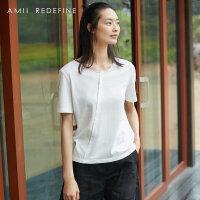 [AMII东方极简] JII[东方极简]2018夏季新款女装圆领体恤短袖纯棉拼接白色宽松T恤女