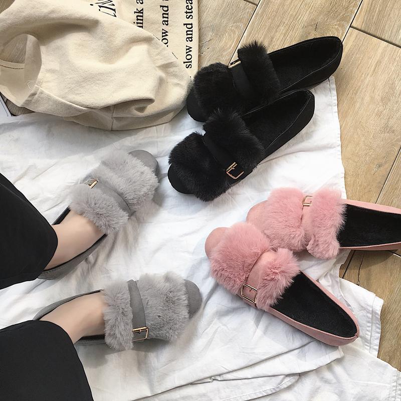 【包邮】韩版2017秋冬季新款毛毛鞋女单鞋学生兔毛豆豆鞋平底瓢鞋加绒棉鞋套脚单鞋74mm