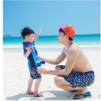 沙滩裤亲子款男士分体中大童防晒温泉游泳裤男童儿童泳装宝宝