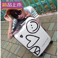 2018复古韩版学生密码卡通可爱涂鸦pc拉杆箱万向轮儿童男女行李皮箱24 白色 20寸