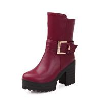 2018新款秋冬季骑士靴女中筒靴女靴子女鞋粗跟短靴防水台高跟中靴真皮
