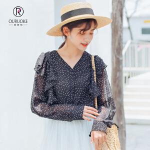 欧若珂 2018秋季新款韩版波点衬衫荷叶边长袖宽松复古V领雪纺上衣女