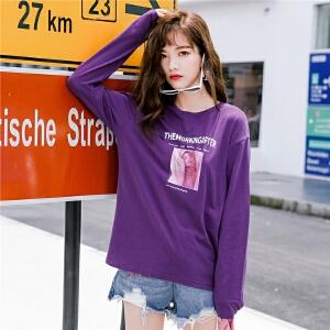 七格格紫色t恤女初秋长袖上衣早秋bf风宽松秋季原宿风韩版嘻哈潮大衣服