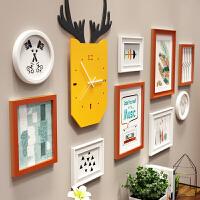 北欧照片墙装饰实木相框墙创意相框挂墙组合套装连体挂客厅相片墙 白色 B款胡白两色 9393