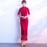 红色新娘敬酒服旗袍2018新款冬季长款复古中国风中式结婚礼服裙女