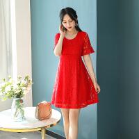 敬酒服新娘孕妇夏季结婚礼服订婚回门衣服收腰短款蕾丝连衣裙yly 红色