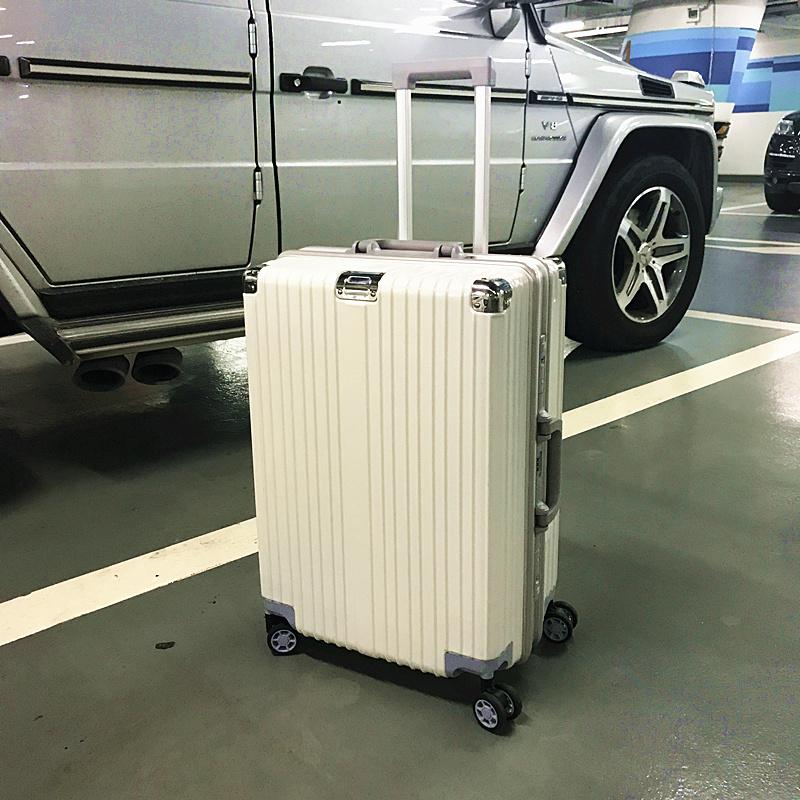 铝框拉杆箱万向轮行李箱男小清新女硬箱24寸旅游拖箱22寸密码箱子SN7800 象牙白 不锈钢包角磨砂铝框款 发货周期:一般在付款后2-90天左右发货,具体发货时间请以与客服协商的时间为准