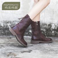 玛菲玛图欧洲站女鞋秋冬季新款中筒靴复古系带马丁靴女英伦风M19815751T11