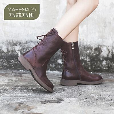 玛菲玛图欧洲站女鞋秋冬季2017新款中筒靴复古系带马丁靴女英伦风5751-11尾品汇 付款后3-5个工作日发货