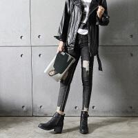 2018新款韩版高跟女靴系带马丁靴侧拉链短筒靴粗跟短靴女秋冬单靴