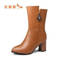 【年��限�r��,�I�辉�p20】�t蜻蜓女靴冬季新款加�q真皮中筒尖�^高跟棉靴粗跟�T士靴