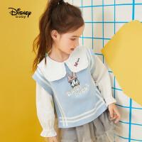 迪士尼女童可爱毛衣马甲2021春秋新款洋气童装纯棉儿童宝宝衫背心