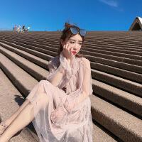 2018春装新款韩版蝴蝶结雪纺衫套装内含吊带+网纱半身裙三件套潮 图片色