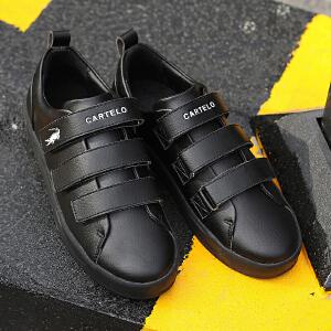 卡帝乐鳄鱼男鞋子2017新款秋季小白鞋男士休闲鞋韩版潮流运动板鞋