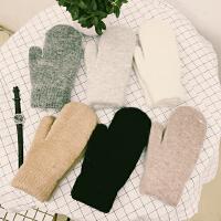 韩国韩版兔毛百搭毛绒纯色羊毛手套全指加厚保暖情侣学生手套女