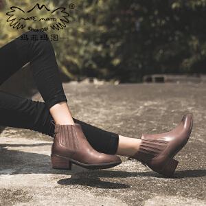 【下单只需要268元】玛菲玛图靴子女冬2017新款手工靴粗跟短靴尖头切尔西靴复古马丁靴学生裸靴6866-1秋季新品