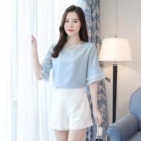 雪纺衫女2018夏季新款宽松喇叭短袖上衣甜美显瘦小清新雪纺打底衫 蓝色