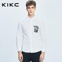kikc男士衬衫2017个性衬衣青少年尖领白色休闲时尚潮牌长袖衬衫男
