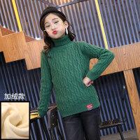 女童秋冬装2018新款毛衣大童针织衫洋气加绒儿童冬季高领打底衫潮