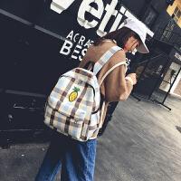 书包女韩版帆布包女双肩包小清新大容量初高中大学生格子书包