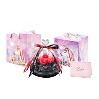 永生花礼盒玻璃罩摆件玫瑰鲜花送女友闺蜜情人节生日礼物车载干花