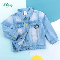 迪士尼Disney童装 男童复古风牛仔外套米奇卡通印染上衣春季新品儿童百搭衣服201S1307