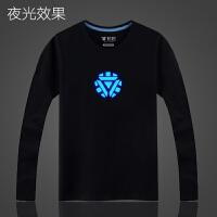 复仇者联盟2钢铁侠T恤荧光夜光纯棉男长袖装学生衣服 2X