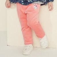 美特斯邦威旗下 moomoo童装女童灯芯绒裤子冬装韩版潮动物宝宝小儿童加绒长裤